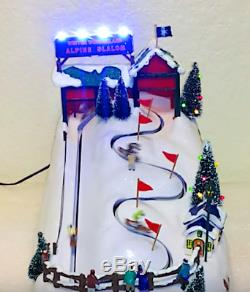RARE NEW Mr Christmas Winter Wonderland Ski Slalom Action/Light Music Box
