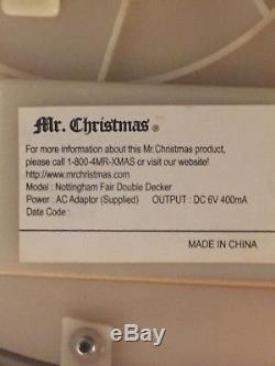 RARE-Nottingham FairDouble Decker Holiday Music Light Up Carousel-Mr. Christmas