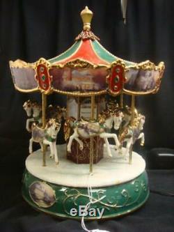 RARE Thomas Kinkade Lighted Victorian Christmas Carousel I'll Be HomeMusic Box
