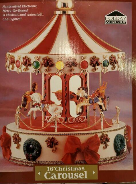 Rare Vintage 1995 Holiday Workshop Music 16 Christmas Carousel Merry Go Round