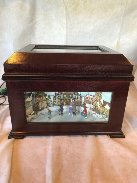 Rare Vtg. Mr. Christmas Harmonique Animated Music Disc Disk Player Ice Skating