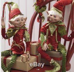 RAZ (2) Extra TALL Elves 30 Red & Green Set of 2 3202682 Christmas Elf