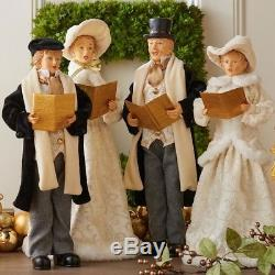 RAZ Imports 18.5 Carolers Set/4 Vintage Victorian Black Ivory Christmas NEW