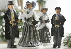 RAZ Imports 18 Carolers Set/4 Victorian Gray Black Gold Ivory Christmas NEW