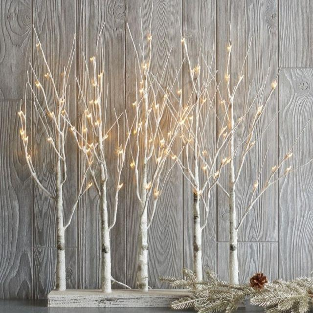 Raz Imports 30 Lighted Birch Grove Trees White Led Lights Christmas New