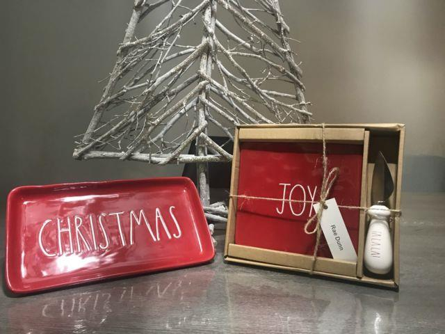 Rae Dunn Red Christmas Tray And Red Joy Cheese Board! Hard To Find Together