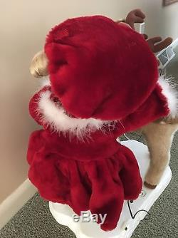 Rare Animated Christmas Porcelain Doll Emma with Reindeer SANTA'S BEST