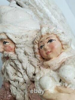 Rare Bethany Lowe Santa Sitting On A Moon Holding Star & Little Girl Paper Mache