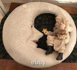 Rare Bethany Lowe Santa Sitting On A Moon- With Sale Tag Never Displayed