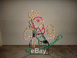 Rare Mr Christmas Animated Lighted Sculpture Santa on Rocking Horse