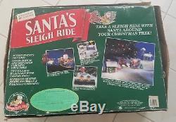 Rare Mr. Christmas SANTA'S SLEIGH RIDE Christmas Tree lights & Animated Works
