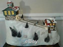 Rare Mr Christmas St. Nicholas Ski Hill Animated Skiing Light Up Decoration