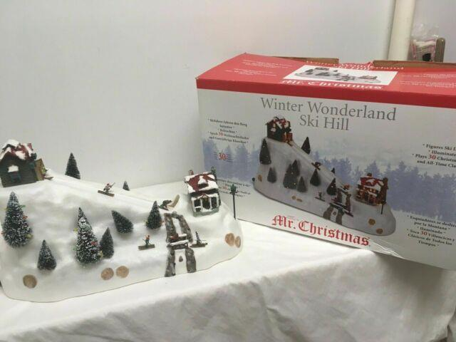 Rare Mr Christmas -winter Wonderland Lighted Ski Hill Action 30 Tune Music Box