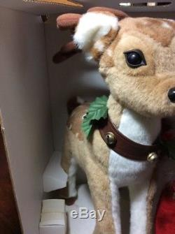 Rare SANTA'S BEST Animated Christmas Porcelain Doll Emma with Reindeer New