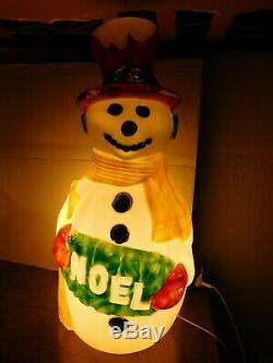 Rare VTG Drainage NOEL Deluxe Snowman Christmas Holiday Blow Mold Yard Decor