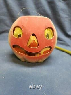 Rare Vintage Halloween Paper Mache Scary Face Pumpkin