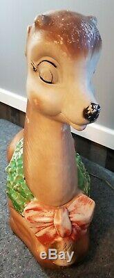 Rare Vintage Poloron Lighted Blowmold Reindeer Deer Blow Mold (MISSING EARS)
