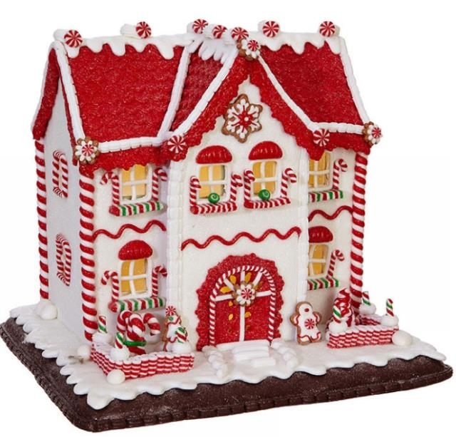 Raz Imports Christmas Red And White Lighted Gingerbread House, 9.75 Inch 3816138