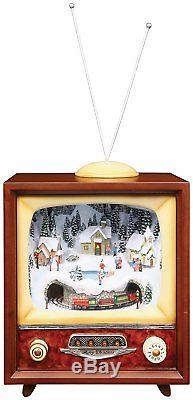 Retro Action Musicals by Roman Action Musical Lighted TV Revolving Train 9-Inch