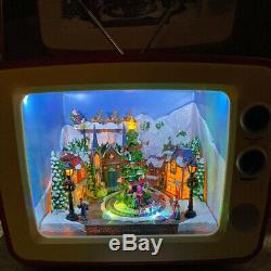 Retro Christmas Television Scene Village Santa Sleigh Train Animated Music Light