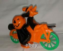 Rosbro Plastic Witch On Motorcycle Candy Container Vintage Halloween