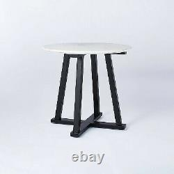 Round Marble Accent Table White/Black Threshold designed with Studio McGee