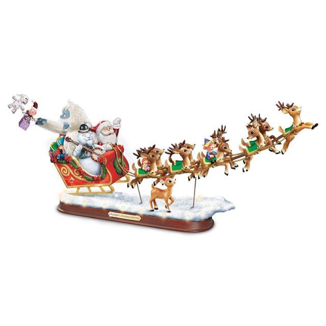 Rudolph The Red Nosed Reindeer Statue Christmas Sleigh Musical Lighted Sculpture