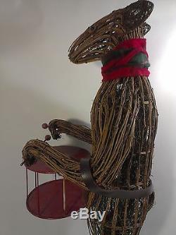 Rustic Wooden Twig Reindeer HUGE 3'FT Sculpture Metal Drum Deer Wood Figure