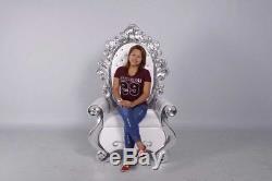 Santa's Chair Throne Silver White Winter Wonderland Theme Christmas Prop