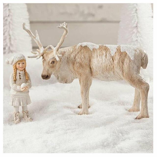 Set/2 Bethany Lowe Girl W Caribou Snow Village Christmas Retro Vntg Decor Figure