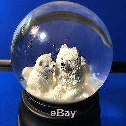 Snow Globe American Eskimo Dog Samoyed Mom & Puppy Christmas Ciao Ciao Music