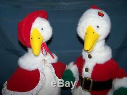 Telco Motionette Animated Mr & Mrs Santa Christmas Geese 23 Tall