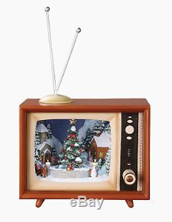 Television with Winter Scene Light Up Animated Christmas Music Box 36432