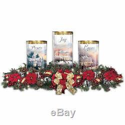 Thomas Kinkade Lighted Peace Love Joy Christmas Red Holiday Centerpiece NEW