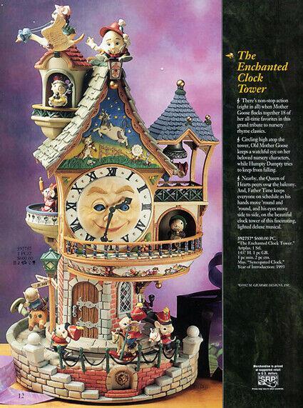 Ultra Rare Enesco The Enchanted Clocktower Action/lites Music Box Mib Video