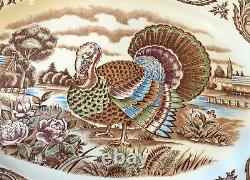 Unique Vintage Large Brown Transfer Ware Thanksgiving Turkey Platter SM Japan