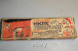 VINTAGE 1960'S CHRISTMAS ELECTRIC CARDBOARD FIREPLACE WithBox