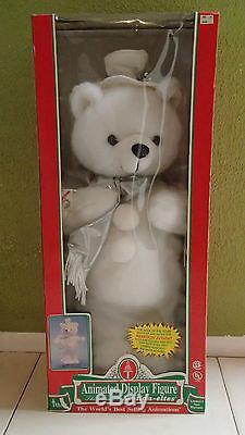 VTG NEW Telco Motionette White Winter Bear Animated Christmas RARE 1996