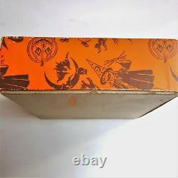 Vintage 1950's Trick or Treat Halloween Candy Toy Box Witch Cat Ghost Bat Moon