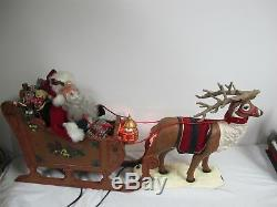 Vintage Animated Lighted Large 36 Santa Sleigh Rudolph Holiday Creations 2 Pcs