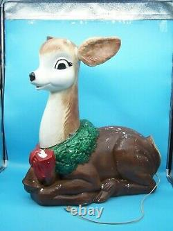 Vintage Christmas 27 Poloron Lighted Blow Mold Fawn Baby Deer Reindeer