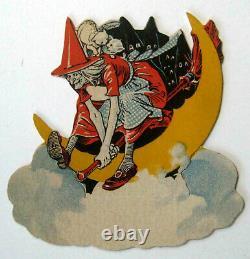 Vintage Dennison Halloween Witch Place Card Diecut Goblins Cats unused 1920s