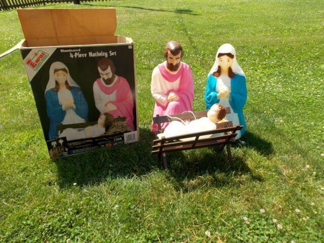 Vintage Empire Plastic Blow Mold Nativity 3 Piece Set Christmas Withbox
