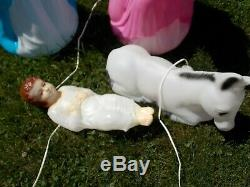 Vintage EMPIRE Plastic Blow Mold Nativity 4 Piece Set Christmas Outdoor Yard Dec