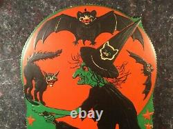 Vintage Halloween Broomed Witch Against Moon Beistle Scalloped Edge Die Cut Huge