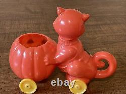Vintage Halloween-Rosbro Rosen Plastic Candy Container-Cat with Jack-O-Lantern