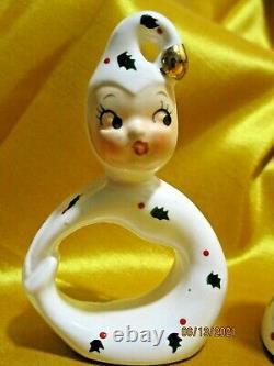 Vintage Holt Howard 50s Christmas NOEL Pixie Candle Holders Japan Retro