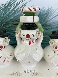 Vintage Holt Howard 50s Christmas Snowman Candle Holder Spaghetti Japan Retro