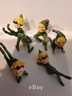 Vintage Lot of 6 Hand Painted Gnome Christmas Elf Pixies Santa's Helpers Japan