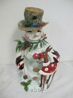 Vintage Metal Animated Musical Snowman Reindeer Home Interiors Rare 17